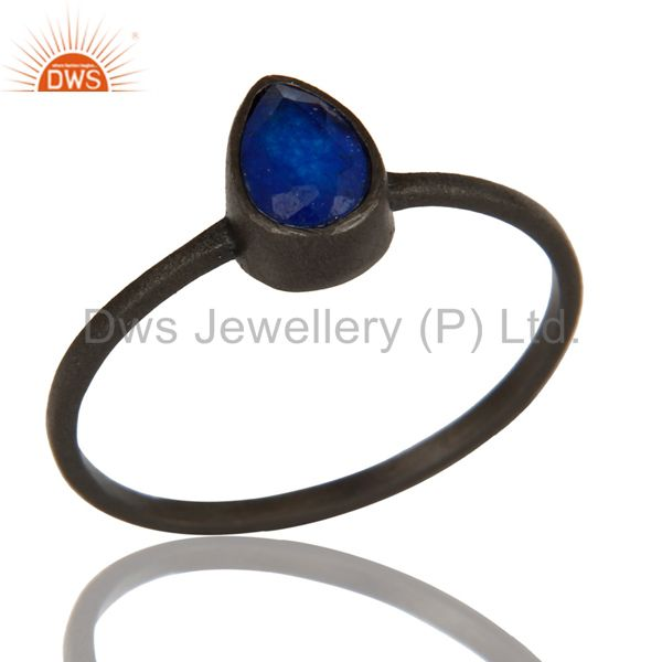 925 Sterling Silver With Oxidized Blue Aventurine Gemstone Stackable Ring
