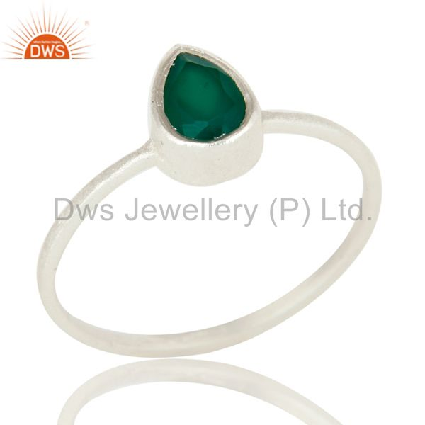 925 Sterling Silver Green Onyx Gemstone Stackable Ring