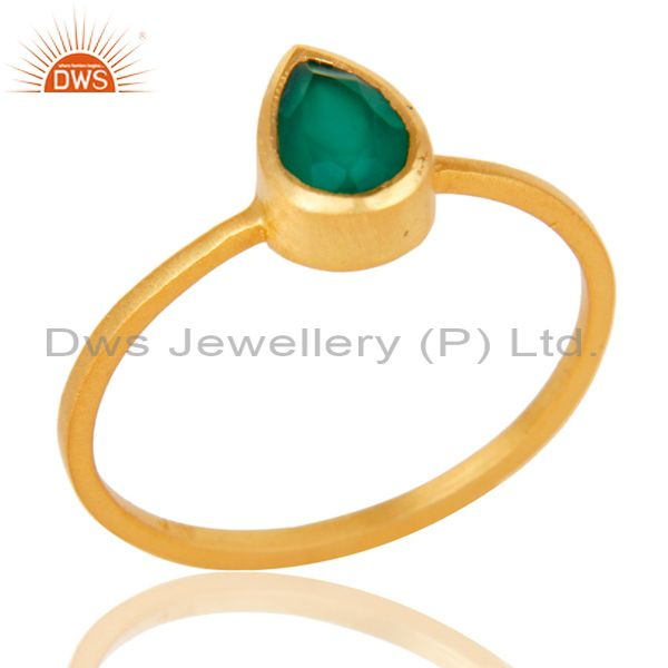 925 Sterling Silver With 18k Gold Plated Green Onyx Gemstone Stackable Ring