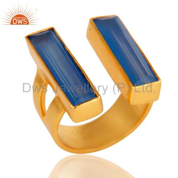 22K Yellow Gold Plated Blue Chalcedony Brass Statement Ring Fashion Jewelry