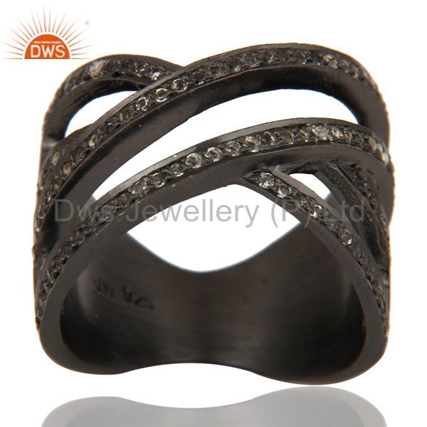 Black Oxidized Handmade Full Fil Statement Ring with White Topaz