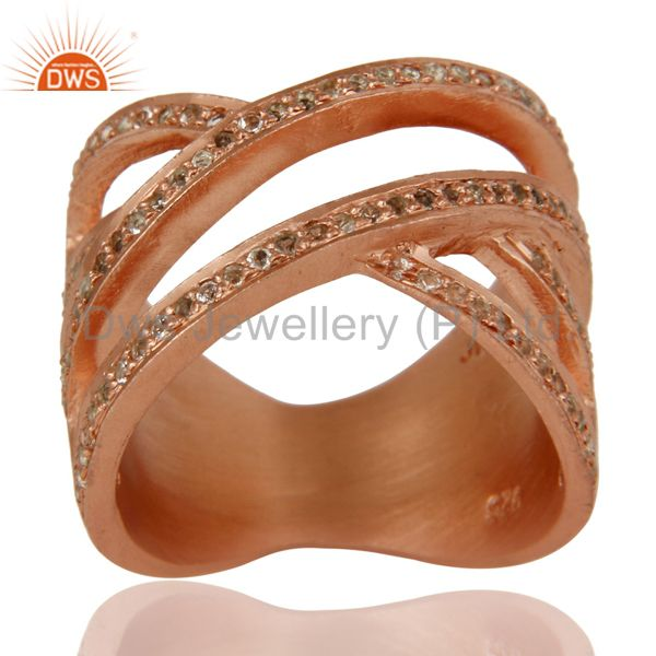 18k Rose Gold Plated Sterling Silver Full Fill Statement Ring with White Topaz