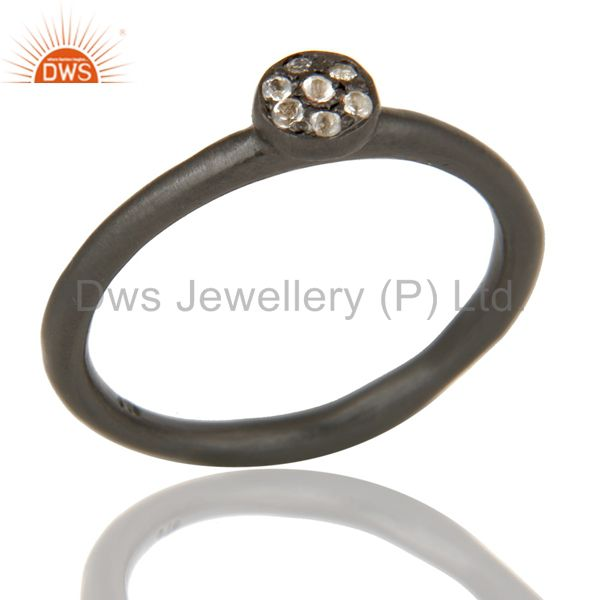 Handmade Simple Setting Black Oxidized Sterling Silver Ring with White Topaz