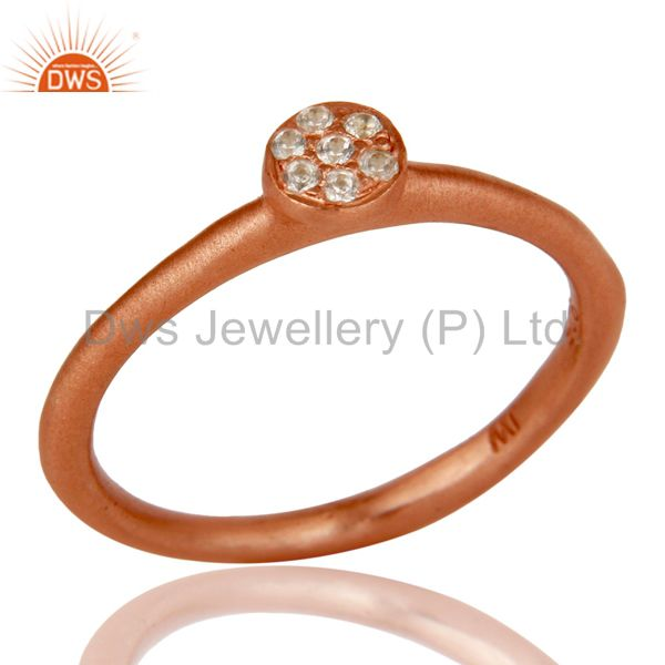 18k Rose Gold Plated Handmade Little Sterling Silver White Zirconia Ring
