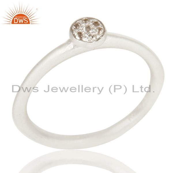 Handmade Simple Setting Solid 925 Sterling Silver Ring with White Topaz