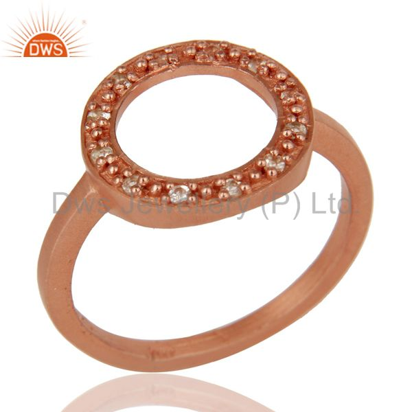 Handmade 18k Rose Gold Plated Sterling Silver Round Design Ring with White Topaz