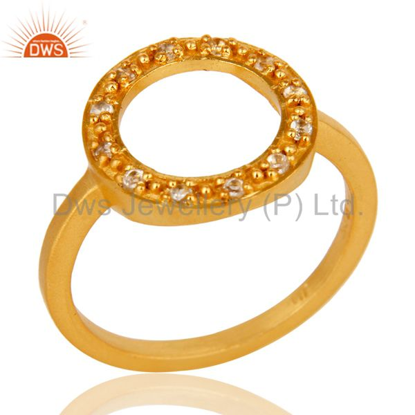 18k Yellow Gold Plated Sterling Silver Round Design Ring with White Topaz