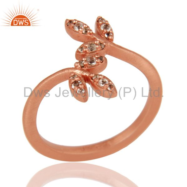 Flower Design 18k Rose Gold Plated Sterling Silver Ring with White Topaz