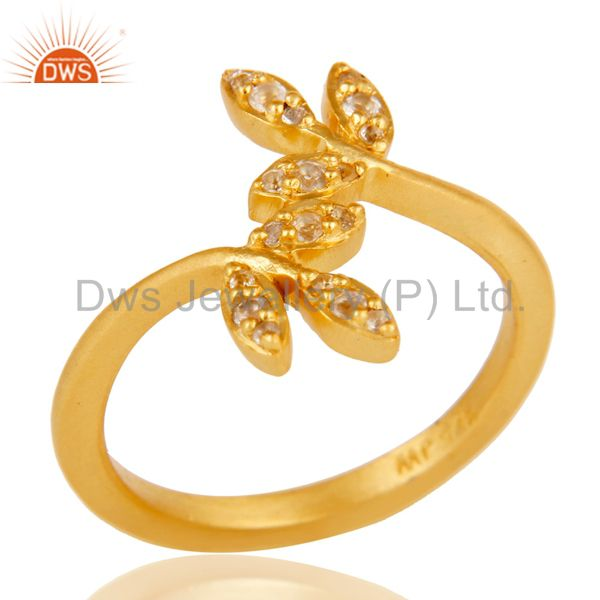 Handmade Flower Design 18k Gold Plated Sterling Silver Ring with White Topaz