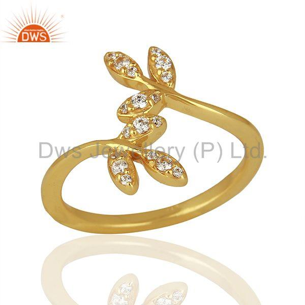 Leaf Design Gold Plated 925 Silver CZ Engagement Ring Jewelry Supplier