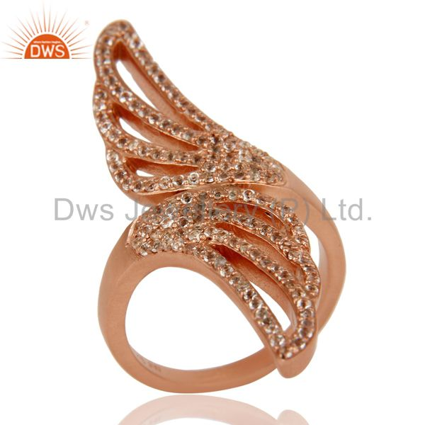18k Rose Gold Plated Sterling Silver Handmade White Topaz Knuckle Design Ring