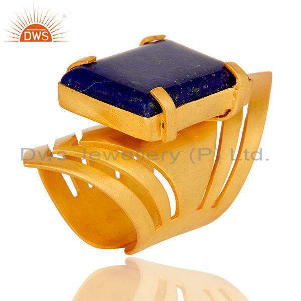 22K Yellow Gold Plated Handmade Fashion Natural Lapis Lazuli Brass Knuckle Ring