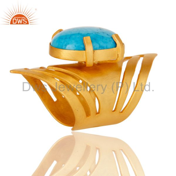 22K Yellow Gold Plated Handmade Fashion Natural Turquoise Brass Knuckle Ring