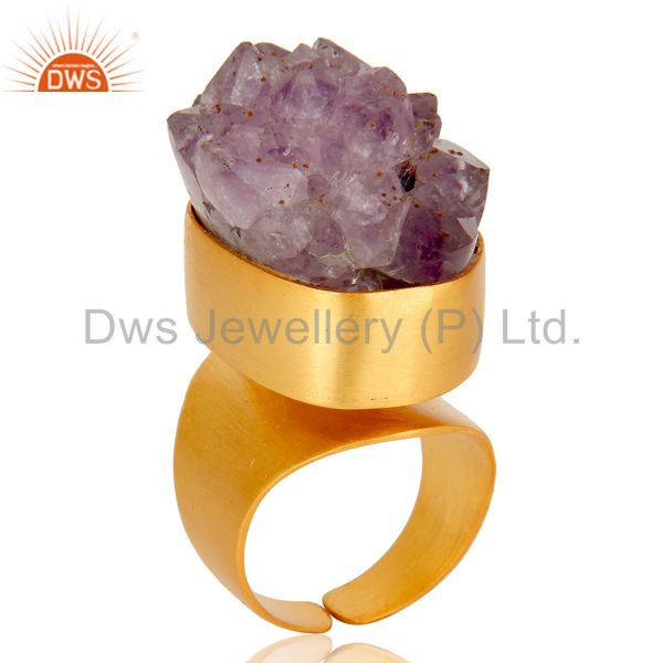 22K Yellow Gold Plated Handmade Druzy Amethyst Brass Dome Ring Jewellery