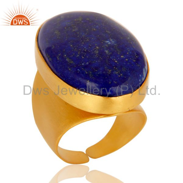 22K Yellow Gold Plated Handmade Wide Natural Lapis Lazuli Brass Dome Ring