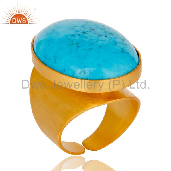 22K Yellow Gold Plated Handmade Wide Natural Turquoise Brass Dome Ring Jewellery