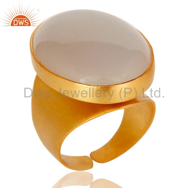 22K Yellow Gold Plated Handmade Wide Natural Chalcedony Brass Dome Ring