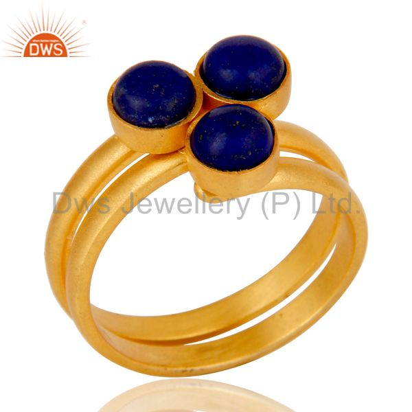 22K Yellow Gold Plated Handmade Lapis Lazuli Brass Statement Ring Jewellery