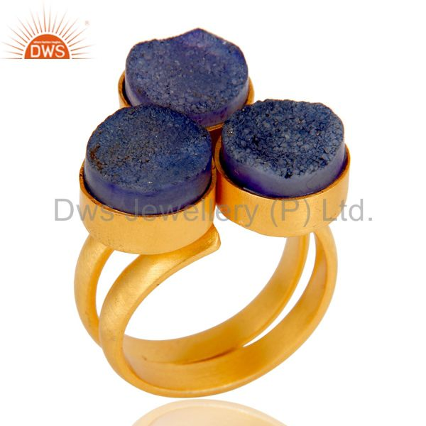 22K Gold Plated Handmade Purple Natural Druzy Brass Statement Ring Jewellery