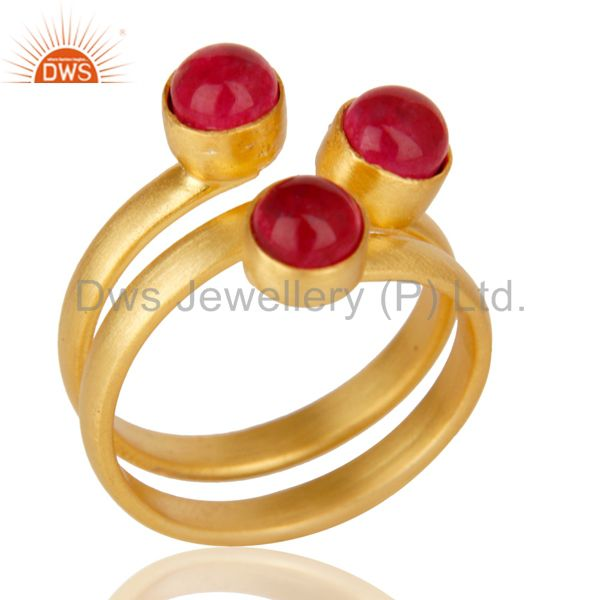 Natural Red Aventurine Quartz Statement 18K Gold Plated Brass Ring Jewelry