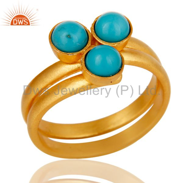 22K Yellow Gold Plated Handmade Matrix Turquoise Brass Stackable Ring Jewellery