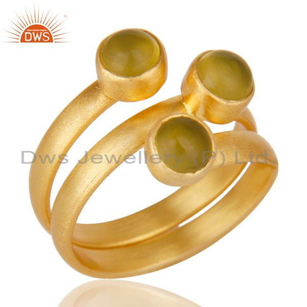 Beautiful 14K Yellow Gold Plated Handmade Dyed Chalcedony Statement Brass Ring