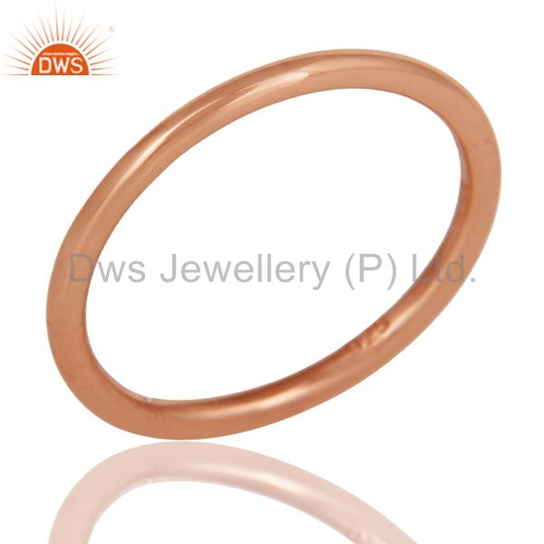 18K Rose Gold Plated 925 Sterling Silver Art Deco Engagement Band Ring Jewelery