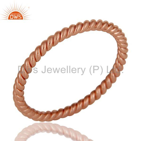 22K Rose Gold Plated 925 Sterling Silver Handmade Art Deco Band Ring Jewellery