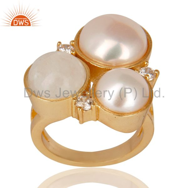14K Yellow Gold Plated Rainbow Moonstone Pearl & CZ Statement Brass Ring
