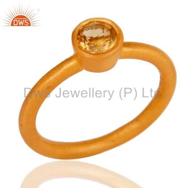 18K Gold Plated Sterling Silver Natural Citrine Gemstone Stackable Ring