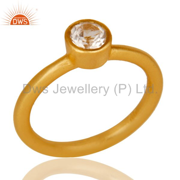 18k Gold Plated Sterling Silver Natural Crystal Quartz Round Cut Stackable Ring