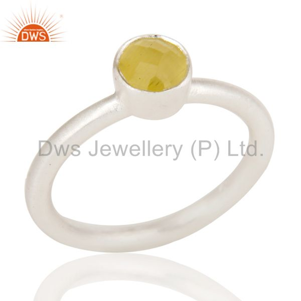Handmade Solid Sterling Silver Natural Yellow Moonstone Little Stacking Ring