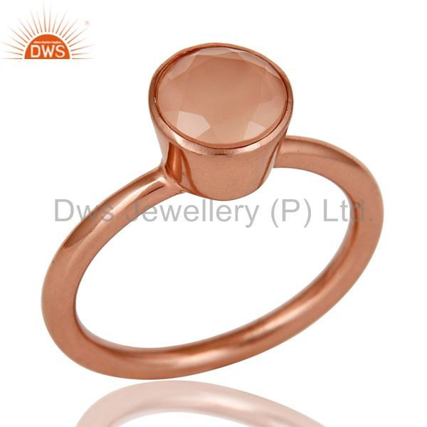 18K Rose Gold Plated Sterling Silver Dyed Chalcedony Gemstone Stackable Ring