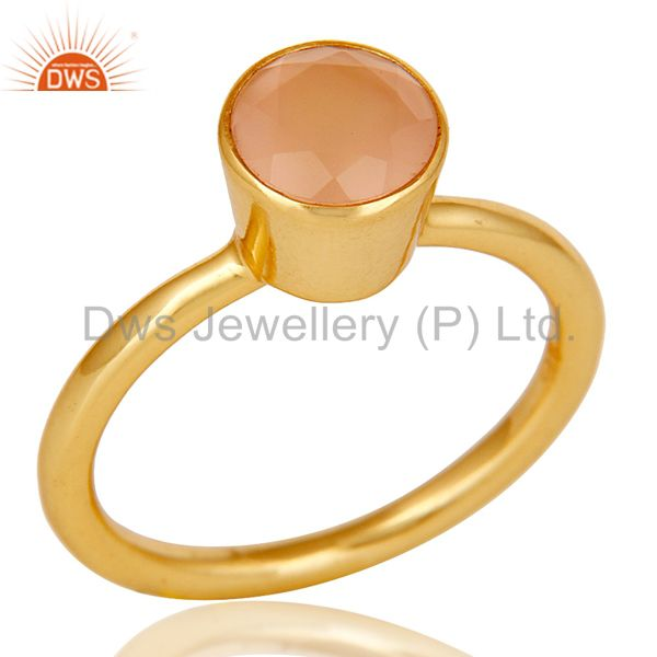 18K Yellow Gold Plated Sterling Silver Dyed Chalcedony Gemstone Stackable Ring