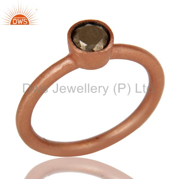18K Rose Gold Plated 925 Sterling Silver Golden Pyrite Gemstone Stackable Ring