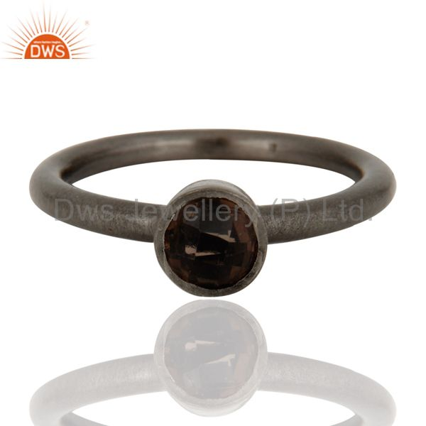 Black Rhodium Plated Plated Sterling Silver Natural Smoky Quartz Stacking Ring