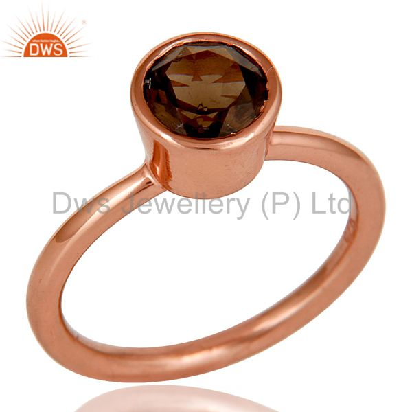 18K Rose Gold Plated Sterling Silver Handmade Round Smokey Topaz Stackable Ring