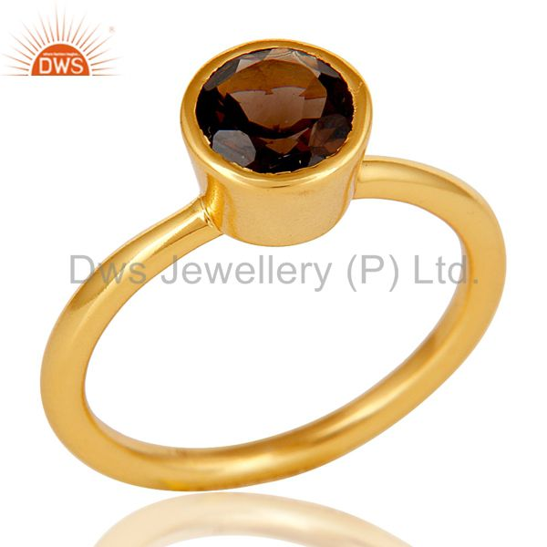 18K Gold Plated Sterling Silver Handmade Round Cut Smokey Topaz Stackable Ring