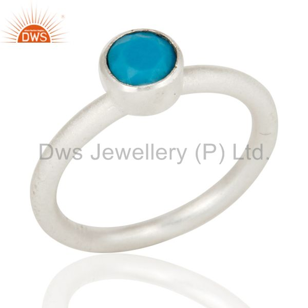 925 Sterling Silver Turquoise Gemstone Stacking Ring