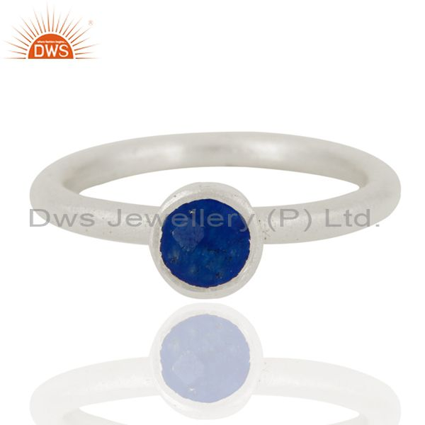 925 Sterling Silver Natural Blue Aventurine Round Cut Stackable Ring