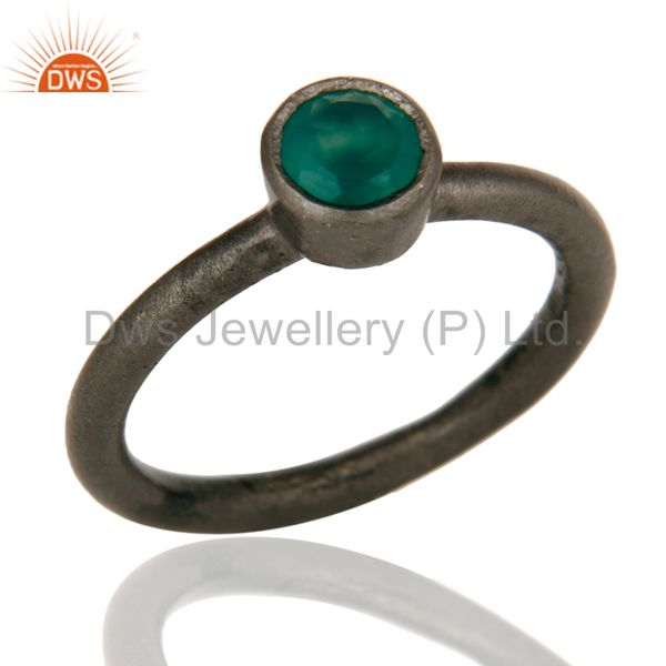 Black Oxidized Sterling Silver Green Onyx Gemstone Stacking Ring