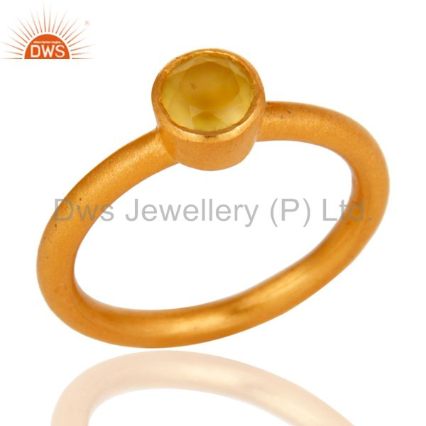 18K Yellow Gold Plated Sterling Silver Yellow Chalcedony Gemstone Stacking Ring