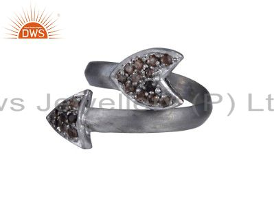 Oxidized Solid Sterling Silver Arrow Sign Adjustable Ring With Smoky Quartz