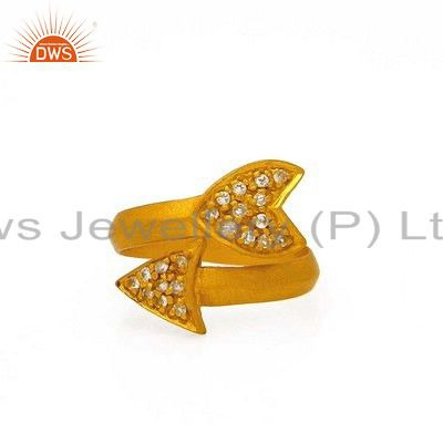 18K Yellow Gold Plated Sterling Silver White Topaz Adjustable Arrow Ring