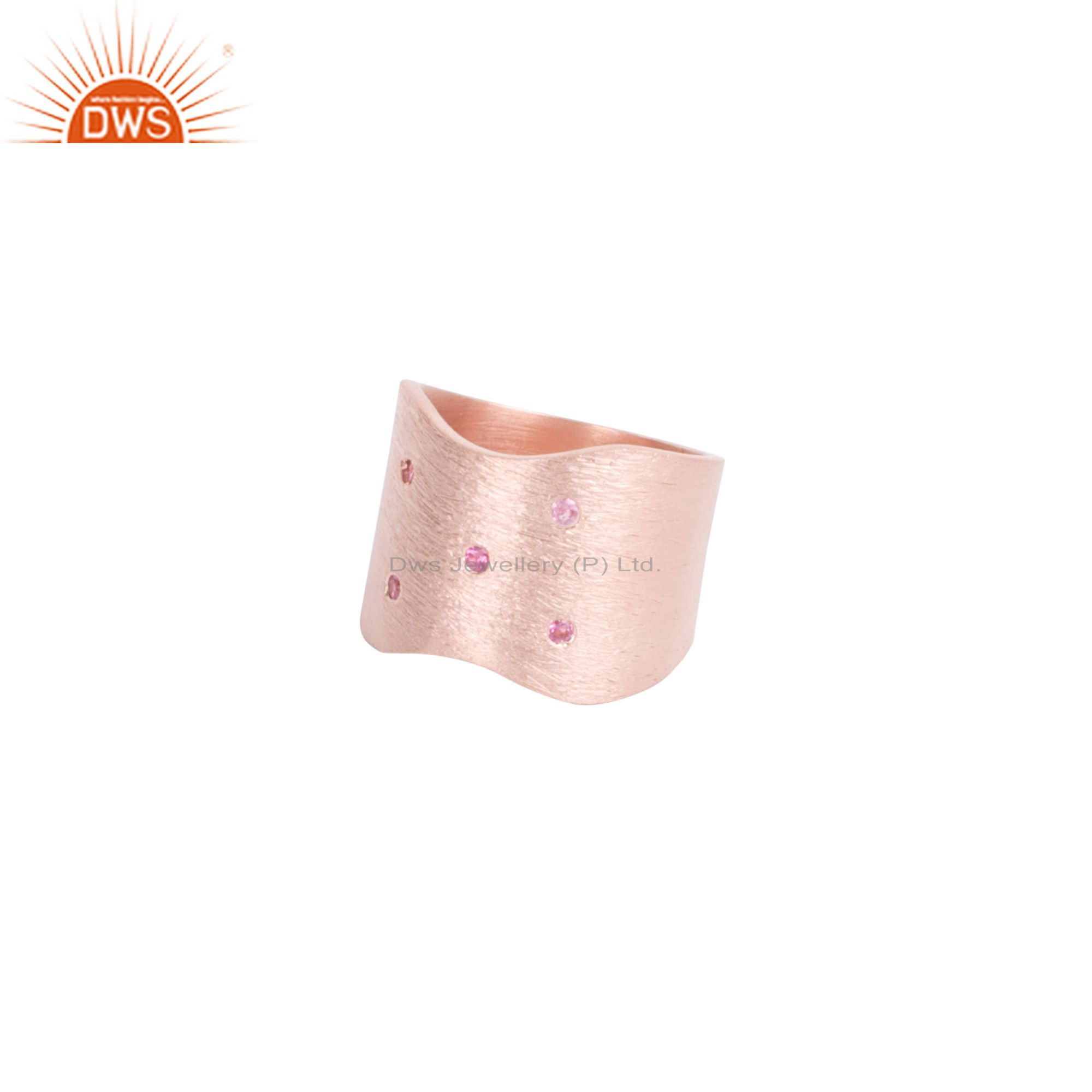 Brushed 18K Rose Gold Plated Sterling Silver Pink Tourmaline Band Ring