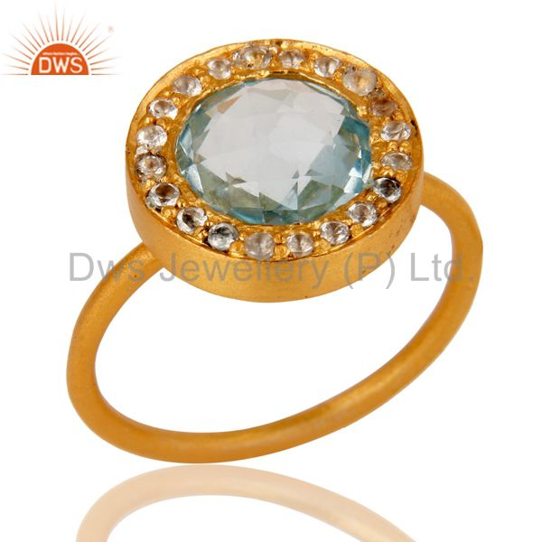 18K Yellow Gold Plated Sterling Silver Blue Topaz and White Topaz Cocktail Ring