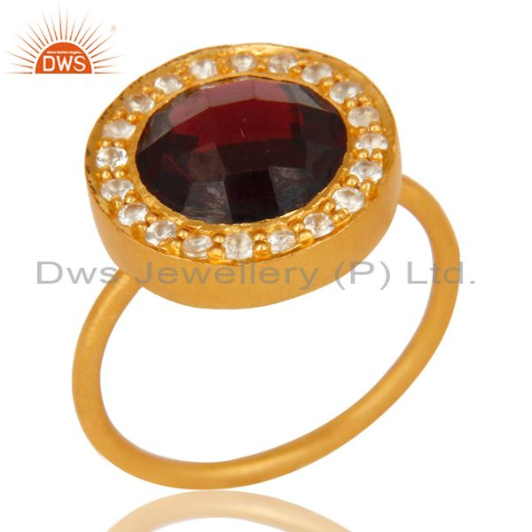 18K Yellow Gold Plated Sterling Silver Garnet And White Topaz Stackable Ring