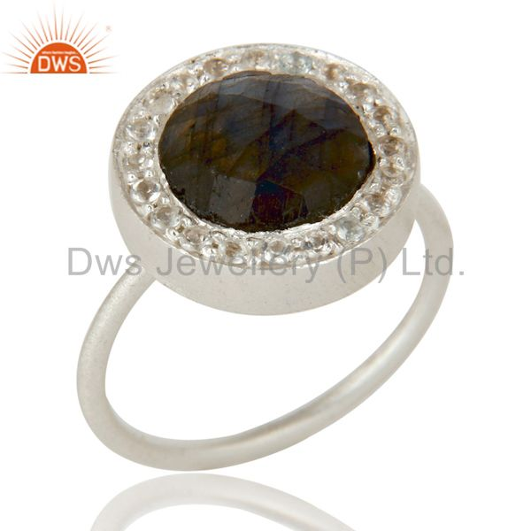 Solid 925 Sterling Silver Handmade Labradorite & White Topaz Statement Ring