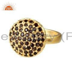 18K Yellow Gold Plated Sterling Silver Smoky Quartz Fashion Cocktail Ring