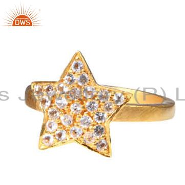 18K Yellow Gold Plated Sterling Silver White Topaz Star Design Cocktail Ring